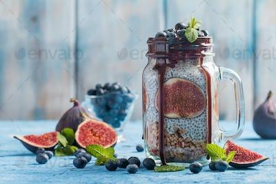 Glass jar of healthy breakfast