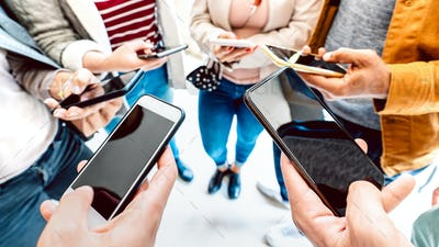 Closeup of people using mobile smart devices
