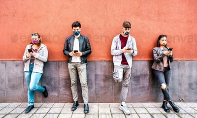 People using mobile smart phone covered by face mask