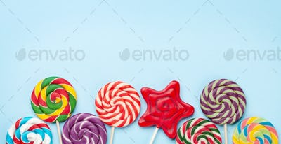 Various sweets assortment. Candy lollipops