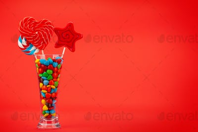 Various sweets in cocktail glass