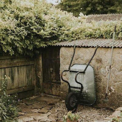 Wheelbarrow leaning on a garden shed