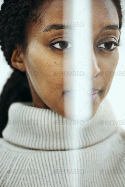 Female face with facial recognition for biometric identification