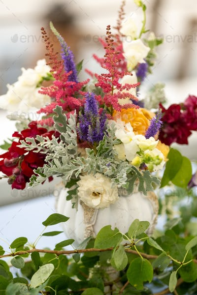 wedding table decoration with flowers on the table in the castle, table decor for dinner by
