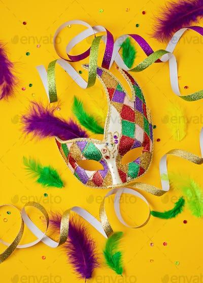 Festive, colorful mardi gras or carnivale mask and accessories