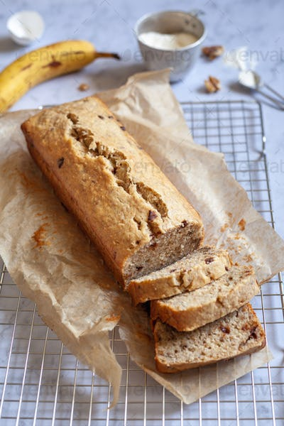 side view of a sliced banana bread