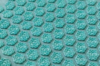 Massage acupuncture rug. Alternative china medicine, mat with needles