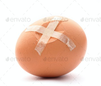 Crack egg with plaster