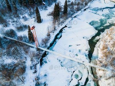 Bieszczady Mountains Park in Poland. Frozen San River. Drone View in Winter.