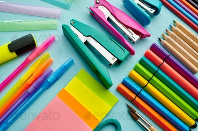 Office stationery supplies, blue background