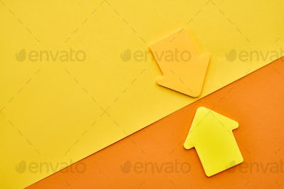 Yellow and orange magnetic arrows closeup