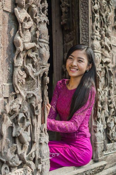 Beautiful Burmese girl smiling at Shwenandaw pagoda, mandalay, myanmar