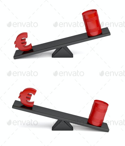 Euro and oil barrel on seesaw