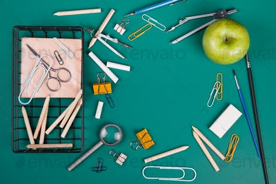 School supplies for the beginning of classes. Back to school concept with copy space