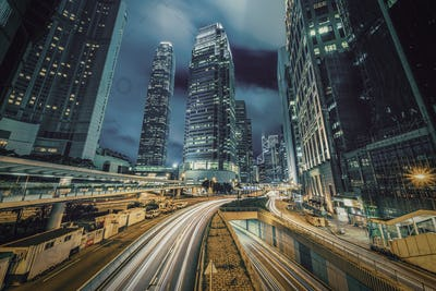 Long exposure of Hong Kong Cityscape skyscaper which have light traffic transportation