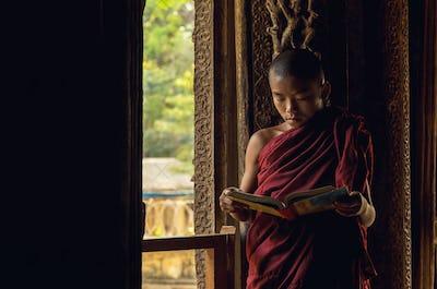 Closeup Buddhist novice reading at Shwenandaw pagoda, mandalay, myanmar