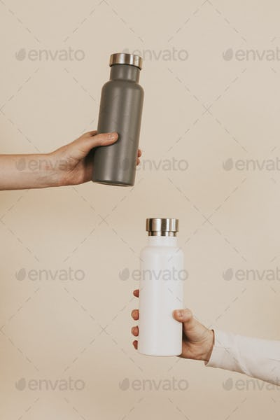 Gray and white water bottle mockups