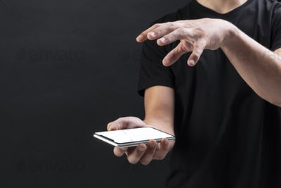 Businessman holding blank screen smartphone innovative future technology