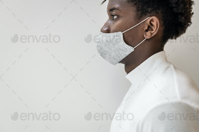 African American man wearing a face mask in the new normal