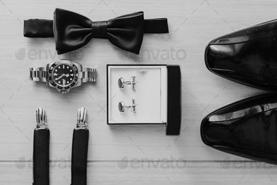 Man accessories with shoes cufflinks watch bowtie