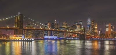 Panorama scene of New york Cityscape with Brooklyn Bridge over the east river