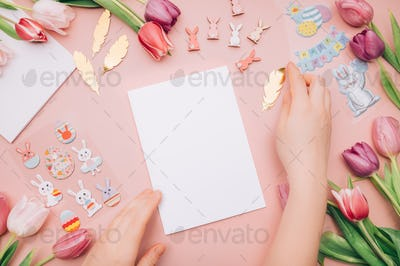Process of making Easter Card with kids
