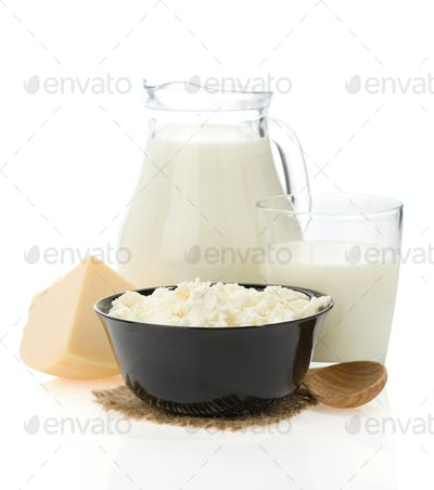 cheese and milk products isolated on white