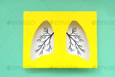 Lungs symbol paper art.