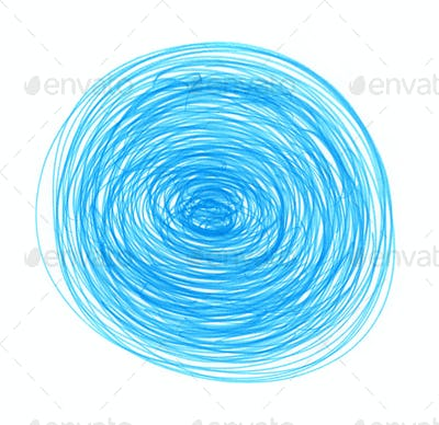 Abstract blue drawn round elements for design