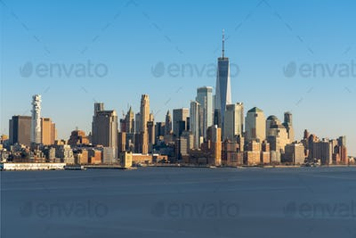 Scene of New york cityscape river side which location is lower manhattan