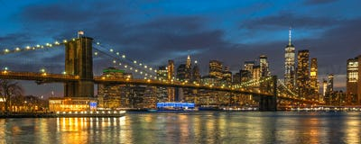 Banner and cover scene of New york Cityscape with Brooklyn Bridge over the east river