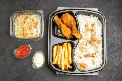 Overhead of popular meal set for dinner or lunch