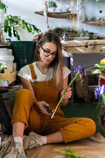 Florist woman cutting the stem of irises flowers using secateurs sitting on floor in flower store