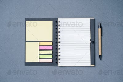 Spiral notebook on a gray background