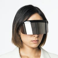 Business woman using vr headset with global communication technology