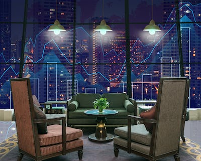 Lobby area of a hotel which can see Trading graph on the cityscape at night and world map