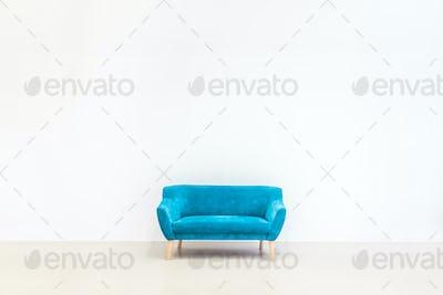 Minimal concept of living interior with blue sofa