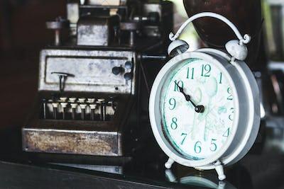 Old vintage antique white clock