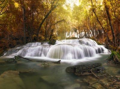 Beautiful waterfall in the deep forest,Pha Tat Waterfall, Kanchanaburi province,