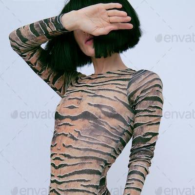 Sexy brunette wearing body
