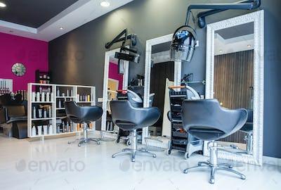 Interior of empty modern hair and beauty salon