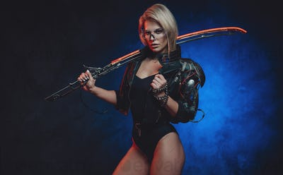Female spy from the future armed with sword in dark background