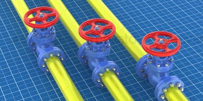 Oil and gas plant pipeline valve. Industrial pipeline and valve with red wheel blueprint drawings