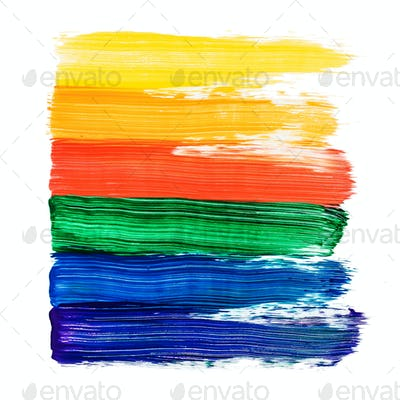 Action painting. Abstract Hand-painted rainbow art background. Multicolored paint strokes and brush