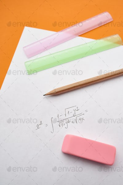 Pencil, ruler and rubber, paper sheet, stationery