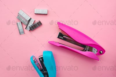 Stapler and paper clips closeup, stationery