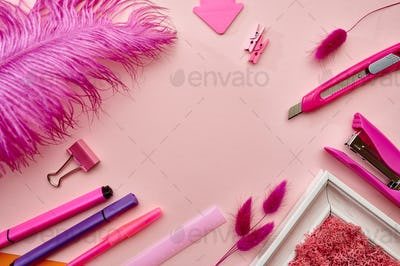 Office stationery supplies, pink background