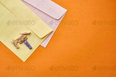 Postal envelopes and paper clips, stationery