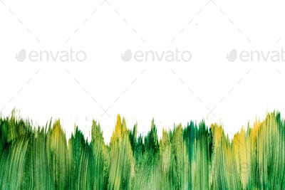 Action painting watercolor green brush mockup isolated on white. Abstract Hand-painted yellow and