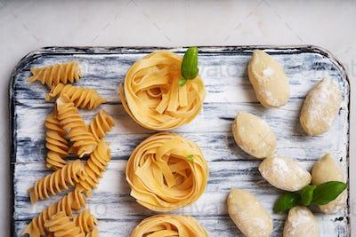 Italian pasta: Tagliatelle, fusilli and gnocchi